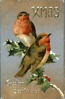 Xmas Greeting and Best Wishes card postcard antique robins on holly birds
