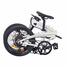 Folding Electric Bike Portable eBike Light Electric Assisted Bicycle USB White