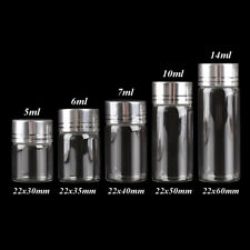 Diameter 22mm 5ml 10ml Glass Bottles with Silver Lids 5ml-14ml 5 Sizes U-Pick