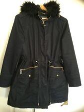 Navy blue raincoat Parker fur hood Phase Eight 8 size 16