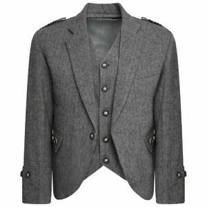 Scottish Men's Grey Argyle Tweed Kilt Jacket With Waistcoat Wedding Kilt Jacket
