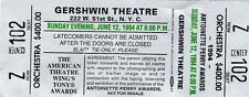1994 TONY AWARDS Full Ticket & Stub BROADWAY Gershwin Theatre NYC w Envelope