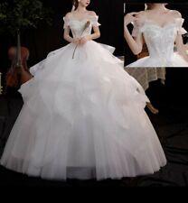 Reino Unido blanco/marfil Corte Sirena Sin tirantes del organza cariño Vestidos para Boda Talla 6-18