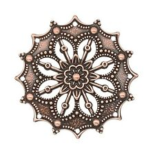 Steampunk Antique Copper Metal Filigree Focal Pendant Beads 2 pcs