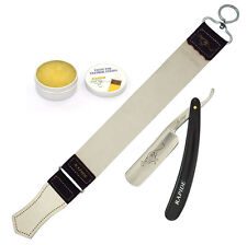 LEATHER STROP + CLASSIC STRAIGHT CUT THROAT SHAVING RAZOR + BALM PASTE GIFT SET