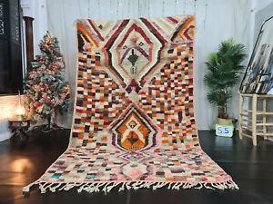 Boujad Handmade Moroccan Vintage Rug 5'7x9' Checkered Orange Berber Wool Carpet
