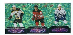 2020-21 Upper Deck Green Dazzlers 3 card lot Bergeron, Horvat, J.Hughes