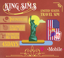 USA Travel Sim Card T-Mobile 👑 Unlimited Uncapped 4G Data 👑 45 Day Plan 👑