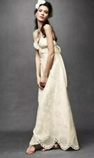BHLDN Ivory Silk Wedding Dress Size 0 Quillaree Eyelet Medley Sheath Gown Linen