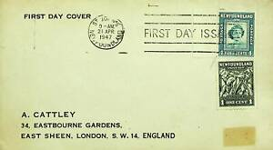 NEWFOUNDLAND 1947 POST WWII 2v ON FDC FROM ST. JOHN TO GB