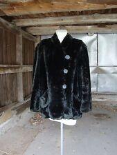 Vintage 1920's Black Faux Fur Flapper Jacket Coat * Size Large-Extra Large