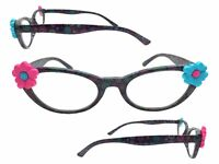 Women's 2.50 Strength Cat Eye Reading Glasses with Pink and Blue Flowers