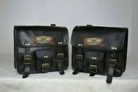 Saddle 2 Bags Black Leather Side Pouch Panniers Real goat GVB Leather Motorcycle