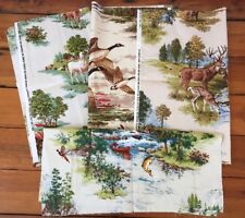 Lot of 4 Vintage 70s Fabric Remnants Squares Outdoor Life Deer Horse Fish Ducks
