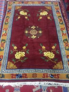 Vintage Hand Knotted Tibetan Rug 6x9 Feet