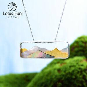 Unique Natural Shell Mountain Pendant Solid 925 Silver Fine Jewelry for Women