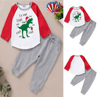 Newborn Baby Boy Girl Christmas Tops Pants Xmas Winter Cotton Outfit Clothes US