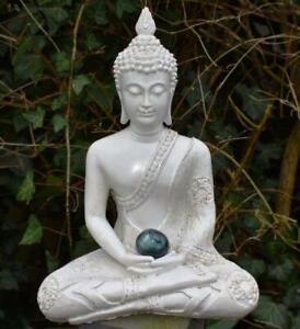 Large Shabby Chic Meditation Buddha With Natural Unique Labradorite Crystal