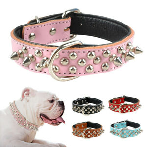 Cool Spikes Studded PU Leather Dog Collars Soft Padded for Small Medium Breeds
