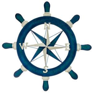 Nautical Ships Wheel Compass Metal Hanging Wall Art Sculpture Coastal Décor 53cm