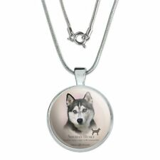 """Siberian Husky Dog Breed 1"""" Pendant with Sterling Silver Plated Chain"""