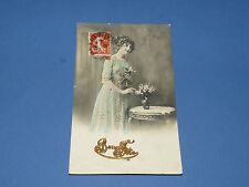CPA CARTE POSTALE 1913 BONNE ANNEE VOEUX FEMME BOUQUET DE FLEURS