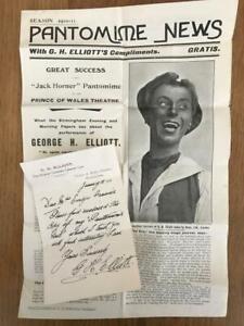 Original G H Elliott Signed Letter with Patomime News Brochure 1910-11 Season