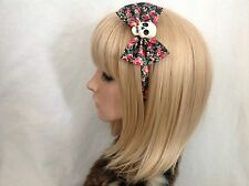 Skull headband hair bow rockabilly pin up girl gothic psychobilly rose retro