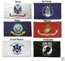 3X5 Military 5 Branches & Pow Mia Double Sided Nylon Flag Set Flags 3ft x 5ft
