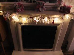 Handmade Christmas Rag Garland, With Lantern Lights.