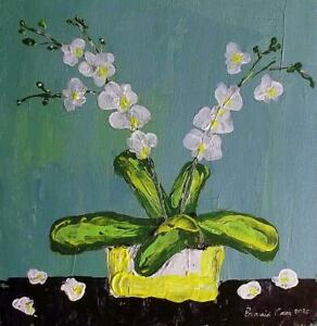 Arsenic Green & Orchids Oil Painting Scottish Colourist  by EALASAID CREAG