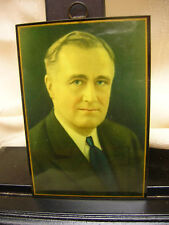Vtg 1920-30's Celluloid F. D. R. Franklin Roosevelt Photo Wall Hanging Picture