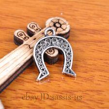 100pcs 17mm Charms Horse Horseshoe Pendant Tibet Silver DIY Jewelry Charm A7332