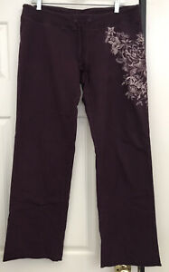 Lucky Brand Floral Purple Sweatpants Lounge LARGE