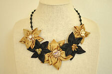 Statement Necklace Black Gold Daisy Fabric Floral Upcycled Handmade Crystal Bead