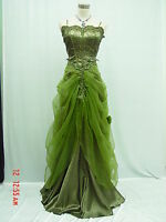 Cherlone Satin Dark Green Lace Sparkle Ball Gown Wedding/Evening Dress UK 16-18