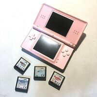 Nintendo DS Lite Console Pink - With 4 Games (No Charger) Untested