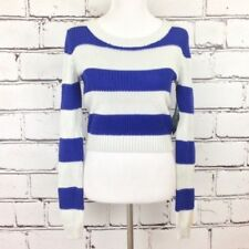 Roxy Newest Leaf Sweater Women's Size S Blue And White Stripe Knitted
