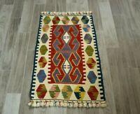 Turkish Hand Knotted Oushak Kilim Doormat Rug Vintage Ethnic Oushak Carpet 2x3ft