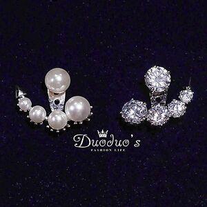 18K White Gold Plated Zircon  Pearl Asymmetric Front & BackStud Earrings