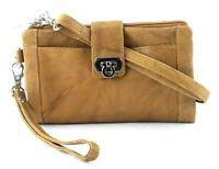 BACCI Leather Crossbody Clutch Wristlet Wallet Convertible Organizer Handbag NWT
