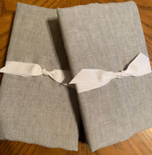 NEW 2PC Pottery Barn Belgian Flax Linen Contrast Flange KING Shams SMOKE WHITE