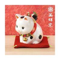 Figura Gato Japonés 75mm Maneki Neko Bobtail Porcelana Fabricado en Japón 40584