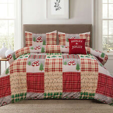 Twin, Full/Queen or King Holly Jolly Holiday Patchwork Comforter Bedding Set