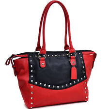 New Womens Handbags Faux Leather Wide Pyramid Studded Shoulder Bag Red/Black