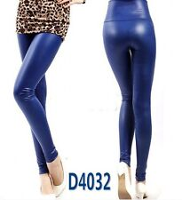 Women Shine Ladies Blue Wet Leather Look High Waist Slim jegging Leggings Pants