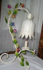 "ANTIQUE WROUGHT IRON ITALIAN FLORAL LAMP~ 21"" TALL `OUTSTANDING BEAUTY ~WORKS"