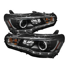 Mitsubishi 08-15 Lancer Evo X Black DRL LED Projector Headlight Factory HID Only