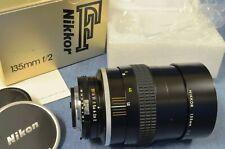 c1978 VTG Mint in Box Nikon NIKKOR 135mm f2 AI Telephoto Lens FM FE F2A F2AS Era