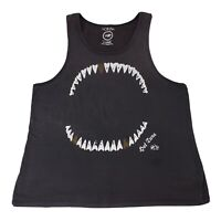 Vintage Hot Tuna Size XL Mens Singlet T Shirt Dark Grey Teeth Print Surf Beach